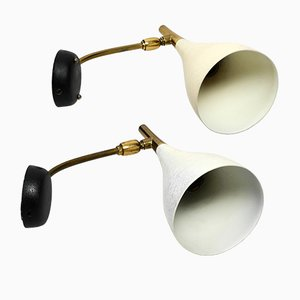 Mid-Century Beige Shrink Lacquer and Brass Sconces by Louis Kalff for Cosack, 1960s, Set of 2