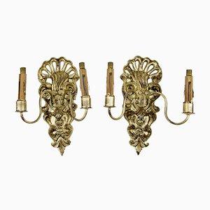 Antike Französische Wandleuchten aus Geschnitztem Holz und Kristallglas im Rokoko Stil, 2er Set