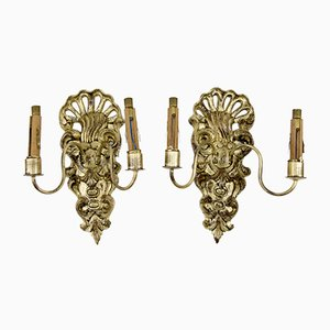 Antique Rococo Style French Carved Wood and Crystal Glass Sconces, Set of 2