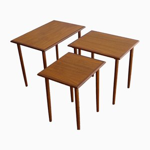 Tables Gigognes en Teck de Fabian, Danemark, 1960s, Set de 3