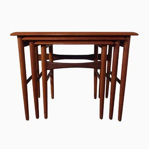 Teak Nesting Tables by Kai Kristiansen for MH Mobler, 1960s
