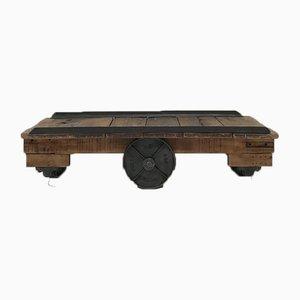 Table Basse Vintage Industrielle en Métal et Bois