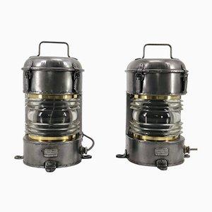 Lanterne vintage in metallo galvanizzato, ottone e Fresnel di Ouvrard et Villars, Francia, set di 2