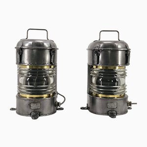 Vintage French Galvanized Metal, Brass, and Fresnel Lens Ship Lanterns from Ouvrard et Villars, Set of 2