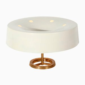 Mid-Century Italian White Brass Table Lamp from Stilnovo, 1950s