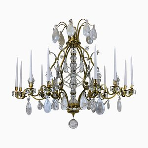 Antique French Gilt Bronze and Rock Crystal Candleholder Chandelier