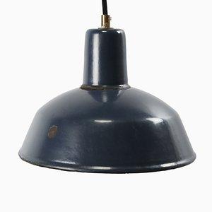 Lampe à Suspension Industrielle Vintage en Email Bleu