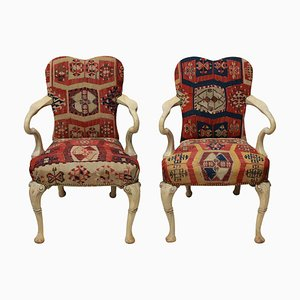Vintage Syrie Maugham Kilim Covered Armchairs, Set of 2