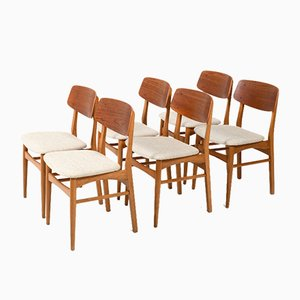 Mid-Century Danish Teak and Oak Dining Chairs, 1950s, Set of 6