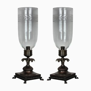 Bronze and Glass Table Lamps, 1930s, Set of 1