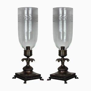 Lampes de Bureau en Bronze et Verre, 1930s, Set de 1
