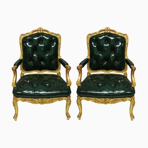 Antique Regency Style Giltwood Armchairs in Green Leather, Set of 2