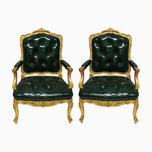 Fauteuils Style Regency Antique en Bois Doré et Cuir Vert, Set de 2