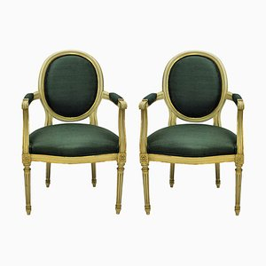 Vintage Louis XV Style French Gilded Armchairs, 1950s, Set of 1