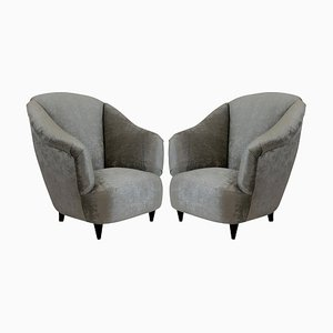 Wood and Velvet Club Chairs by Guglielmo Ulrich, 1950s, Set of 1