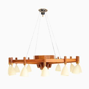 Large Mid-Century Italian Wooden Ceiling Lamp attributed to BBPR, 1950s