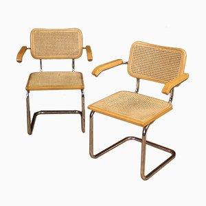Italienische Armlehnstühle aus Metall & Schilfrohr, 1980er, 2er Set