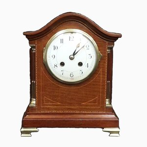 Antique Belle Epoque French Mahogany Inlaid Mantel Clock, 1900s