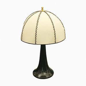 Vintage Black Ceramic Table Lamp by Ferdinando Loffredo, 1970s