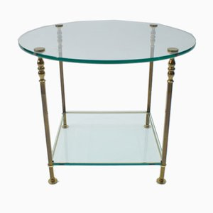 Italian Round Glass and Brass Coffee Table, 1970s