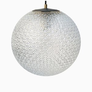 Vintage Clear Glass & Metal Globe Pendant Lamp