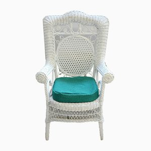 Vintage French White Wicker Wide Armchairs, Set of 2