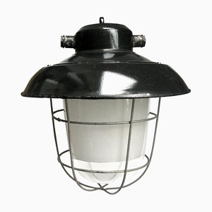 Lampe à Suspension Vintage Industrielle en Verre Transparent Émaillé Noir & Semi-Dépoli
