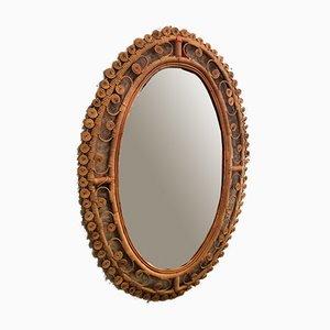 Ovaler Korbgeflecht Spiegel, 1960er