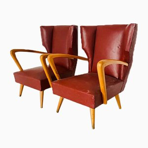 Vintage Leatherette and Wood Lounge Chairs, 1950s, Set of 2