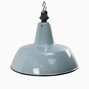 Vintage Industrial Gray & Blue Enamel Pendant Lamp