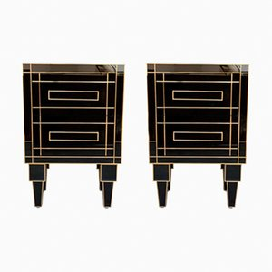 Handmade Black Crystal and Brass Nightstands with Two Drawers by Zenza, Set of 2