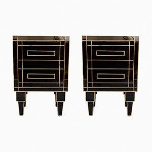 Tables de Chevet Artisanales Noires en Cristal et Laiton avec Deux Tiroirs par Zenza, Set de 2