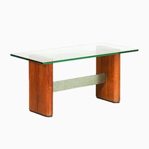 Mid-Century Glass and Wood Coffee Table from Fontana Arte, 1950s