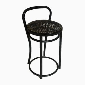 Vintage Black Metal Frame and Rattan Stool, 1960s
