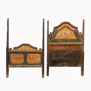 Vintage Rustic Polychrome Headboard, Set of 2