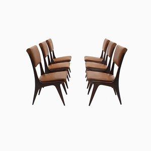 Chaises de Salon en Acajou par Carlo de Carli, Italie, 1950s, Set de 6