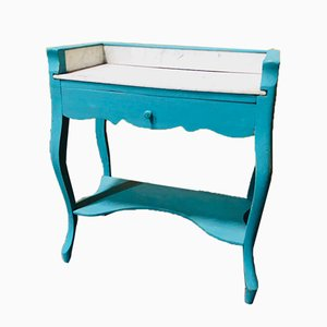 Dutch Turquoise Chalk Painted Marble Top Side Table, 1920s