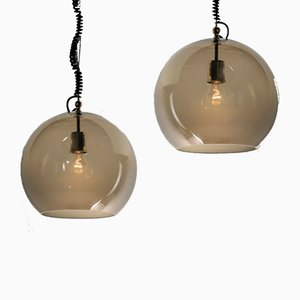 Glass Pendant Lamps by Ico Parisi for Arteluce, 1960s, Set of 2