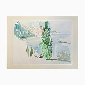 Lake Geneva Colored Lithograph by Oskar Kokoschka, 1976