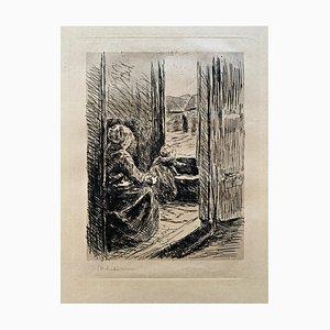 Mère et Enfant Drypoint par Max Liebermann, 1891
