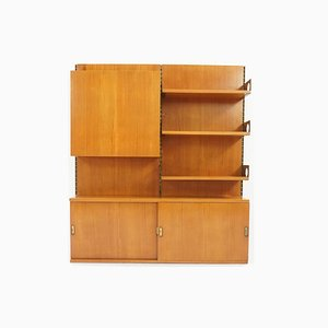 Italian Suspended Wall Bookshelf with Cabinets from La Permanente Mobili Cantù, 1960s