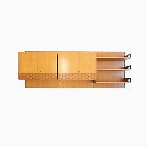 Italian Suspended Wall Bookshelf with Cabinets and Drawers from La Permanente Mobili Cantù, 1960s