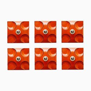 Appliques en Céramique Orange de Rolf Krüger par Heinz Neuhaus Leuchten, 1970s, Set de 6