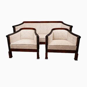 Art Deco Mahogany and White Velvet Sofa, 1940s