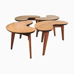 Mid-Century Kidney-Shaped Side Tables, Set of 4
