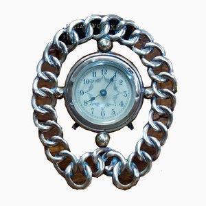 Horloge de Voyage Victorienne en Laiton Horseshoe avec Anneau de Mariage