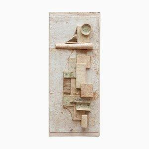 Belgische Abstrakte Geometrische Wandfliese in Weicher Steinfarbe, 1960er