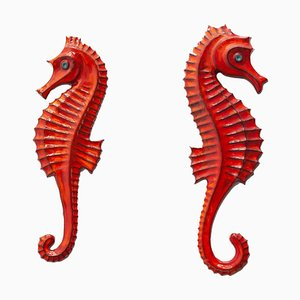 Belgian Ceramic Seahorse Wall Plaques by F. Sanchez and Bayer for Perignem, 1960s, Set of 2