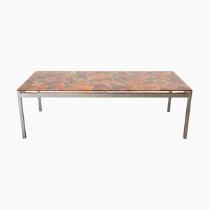 Modernist Rectangular Mosaic Inlay Orange Glass Top Coffee Table, 1970s