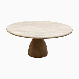 Round Solid Travertine Pedestal Coffee Table by Peter Draenert, 1972
